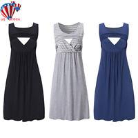 Pregnant Women Maternity Nursing Breastfeeding Summer Sleeveless Loose Dress US