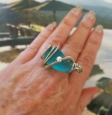 Blue Turquoise Sea Glass Ring Size 8 & 9 adjustable