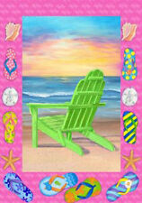 "Sunrise Beach Adirondack House Flag Decorative Sand Flip Flops Ocean 28"" x 40"""
