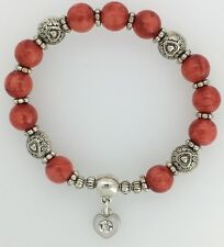 Brick Red Bead Stretchy Bracelet Silver Tone Heart Charm with Rhinestone Centre