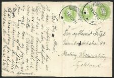 Denmark 5o x 3 on MeFhand sketched postcard to Germany 1932