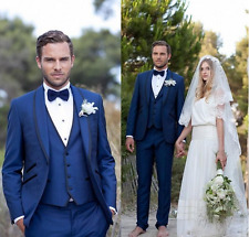 Tailored Blue Mens Wedding Suits Slim Fit Tuxedos Groom 3 Pieces Formal Dinner