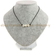 Black Leather Cord 3 Pcs 9-10mm White Pearl Pendant Knot Choker Necklace 18'' AA
