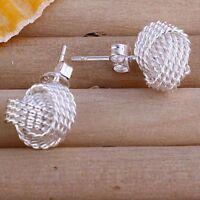 ASAMO Damen Ohrstecker Knoten Ohrringe 925 Sterling Silber plattiert O1013