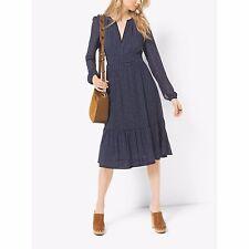 NWT MICHAEL KORS Size 4, Paisley Print Ruffle Skirt Midi Dress NEW NAVY $175