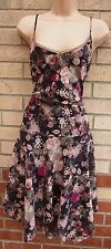 G21 BROWN PINK FLORAL STRAPPY LACE TRIM FLAPPER SKATER FLARE CURVY FIT DRESS 16