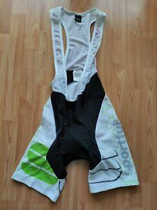 Sportful Men's Fleece Thermal Cycling Bib Shorts White/Black/Green Size: L