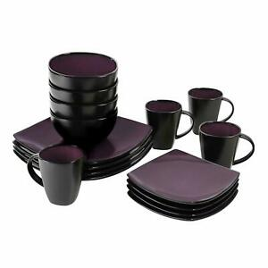 Dinner Service Set Kitchenware Reactive Glaze Dinnerware Plate Purple Glass Mug