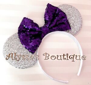 **New** Minnie Mouse Ears Headband Shimmer Silver Sparkly Dark Purple Sequin Bow