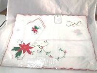 Vintage Christmas Linen Placemats/ Matching Napkins, New in Package.Set of 4