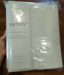 Carter's Fitted Waterproof Crib Pad Standard Mattress Cover Washable 28 x 52 In