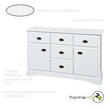 Très belle Commode à 5 tiroirs 2 portes sur glissières métalliques blanc
