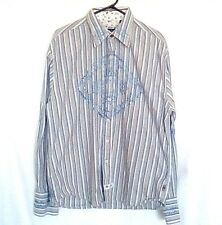 English Laundry Men's Button Front Shirt  Striped Embroidered Size XL
