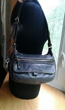 Fossil Purse Shoulder Bag Hobo Soft Black Leather W/Key