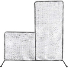7x7' Baseball Pitching L-Screen Net&Frame Pitcher Protector Safety Training Aid