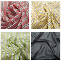 100% Cotton Voile Stripe Quality Fabric Dress Plain Upholstery Fashion Craft