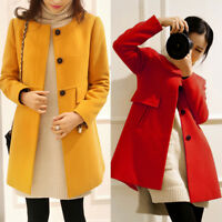 Women Winter Wool Blend Outerwear Long Trench Jacket Coat Plus Size S-3XL/4XL