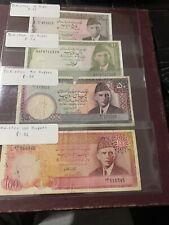 Pakistan 100 50 10 5  Rupees ND 1981 P36 35 VF-F 34 33 Unc