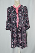 NY Collection Womens Medium Pink Black Aztec NEW 3/4 Sleeve Shorts Romper 1 Pc