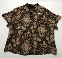CHARTER CLUB Womens Brown Floral Print Silk Blouse Lined S/S Button Up Sz 20W