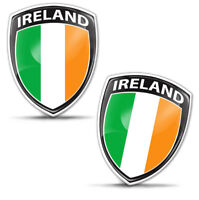 2x 3D Domed Ireland Flag Number Plate Car Laptop Phone Case Helmet Bike Stickers