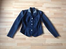 Ladies Black Fitted Blazer Jacket With White Collar Embroidery - Size 10-12