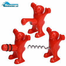 3PCS Funny Happy Red Man Novelty Wine Bottle Stopper Bottle Opener Corkscrew