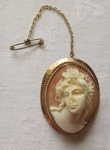 Vintage 9ct Gold Beautifully Carved Cameo Brooch
