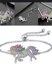 Ladies girls CZ adjustable unicorn bracelet 925 silver jewellery present gift
