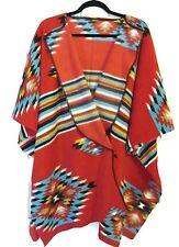 Red Aztec Southwest Style Shawl Wrap Poncho Vintage Gallery Quality Print