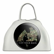 I Got Your Back Soldier and German Shepherd Dog Camo Cowbell Cow Bell Instrument