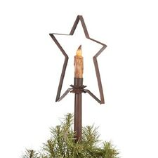 CHRISTMAS TREE STAR CANDLE LIGHT HOLDER  Handcrafted Primitive Topper Rustic Tin