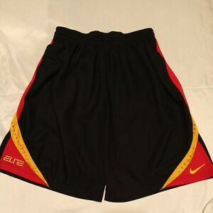 Nike Elite Basketball Athletic Dri-fit Shorts Black/Red/Yellow Men's Size XLarge