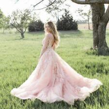 2019 Blush Pink Lace Appliqué Wedding Dress Gown Petite Princess Ballgown