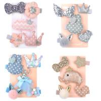 New 5PCS Cute Handmade Kids Girls Bowknot Hair Clips Barrette Hairpin Hair