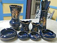 Vintage 8 Piece Set Of Vases & Ashtrays Cobalt Blue With Bird Of Paradise