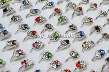 Wholesale 50pcs Mixed CZ Rhinestone Women's Silver plated Rings HOT FREE