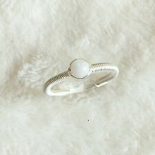 Moonstone Sterling Silver Wire Wrap Ring Simple Tiny June Birthstone Size M
