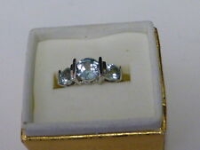 New Old Stock Sterling Silver Ring With 3 Light Blue Stones