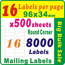 500 Sheets 16 Labels per Page 8000 Labels 96x34mm Round Corner A4 Mailing Label