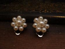 Vintage Jewellery  Round Cluster Pearl  Clip  Earrings