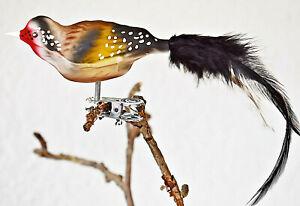 ❀ Stieglitz Glas Vogel Feder Lauscha Glasvogel Christbaumschmuck 8,5 / 18 cm 28A