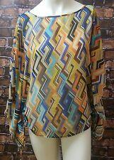 Apostrophe Women's Top Blouse Medium Blue Brown Orange Sheer Geometric Print