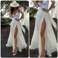 Women Skirt Chiffon Boho HighWaist Beach Wrap Maxi Split Skirt Summer Long Skirt