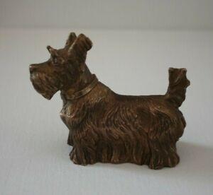 Hund Figur Bronze 354g Tierfigur Terrier Skulptur Statue dog alt vintage