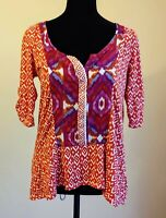 ~Anthropologie~ Akemi + Kin Orange Purple Geometric Shape Top Size Small