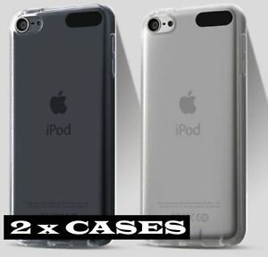2 x CASES - CLEAR TPU Soft Rubber Transparent Cover - iPod Touch 5th 6th 7th Gen