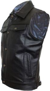 MBS New Leather Motorcycle Motorbike Waistcoat