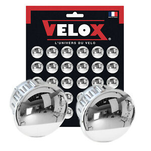 2 x Velox Handlebar End Plugs Caps Chrome Vintage Plastic Silver
