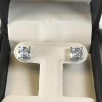 2Ct Studs Diamond Earrings Cushion Fancy White Man Made 14k Solid Gold